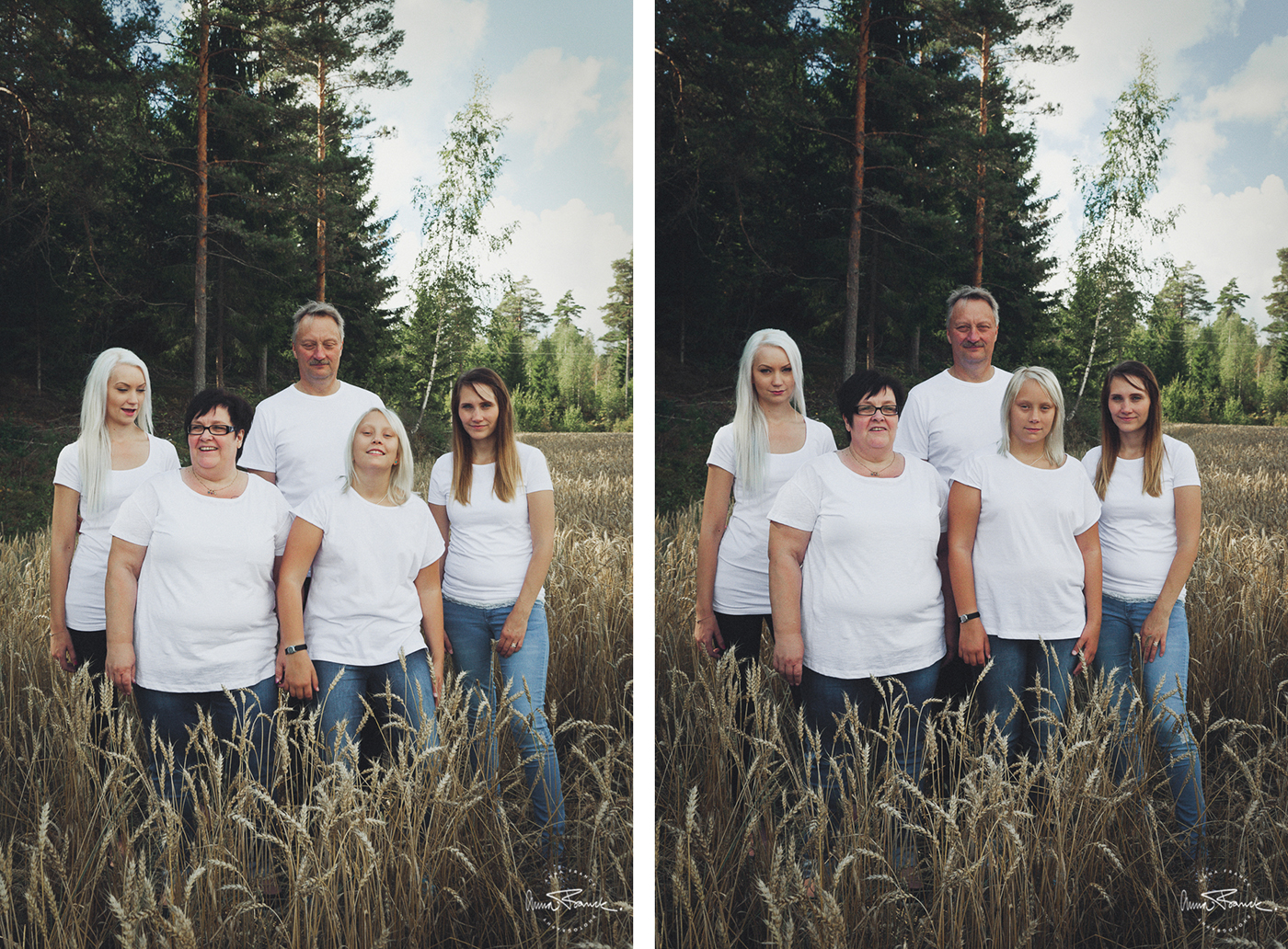 familjefoto, perhekuva, family, portrait, porträtt, muotokuva, anna, franck, pargas, parainen, finland, suomi, landet, maalla, countryside, field, åker, pelto, avslappnat, rento